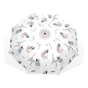 GUKENQ Paraguas de Viaje Ligero con diseño de Torre Eiffel Paris Bulldog francés, Resistente al