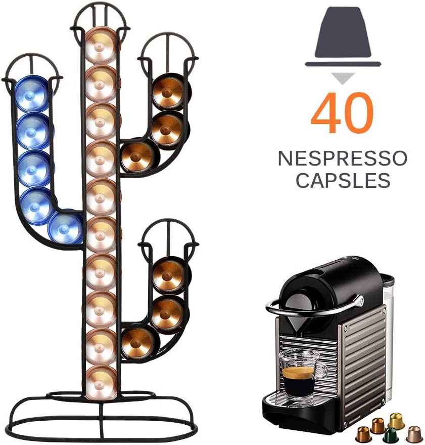 SUNJULY Stainless Steel Coffee Pod Holder Cactus Dispenser Coffee Dispensing Tower Stand Fits Nespresso Capsule Holder