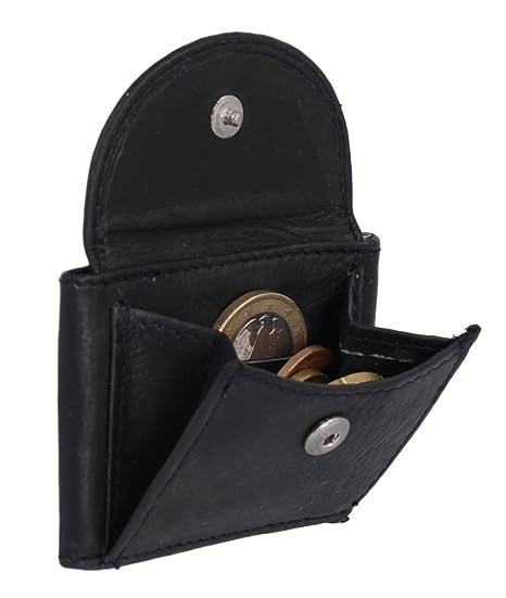 Cartera muy pequeña para señores Monedero para señoras LEAS, Piel auténtica, negro - LEAS Mini-Edition