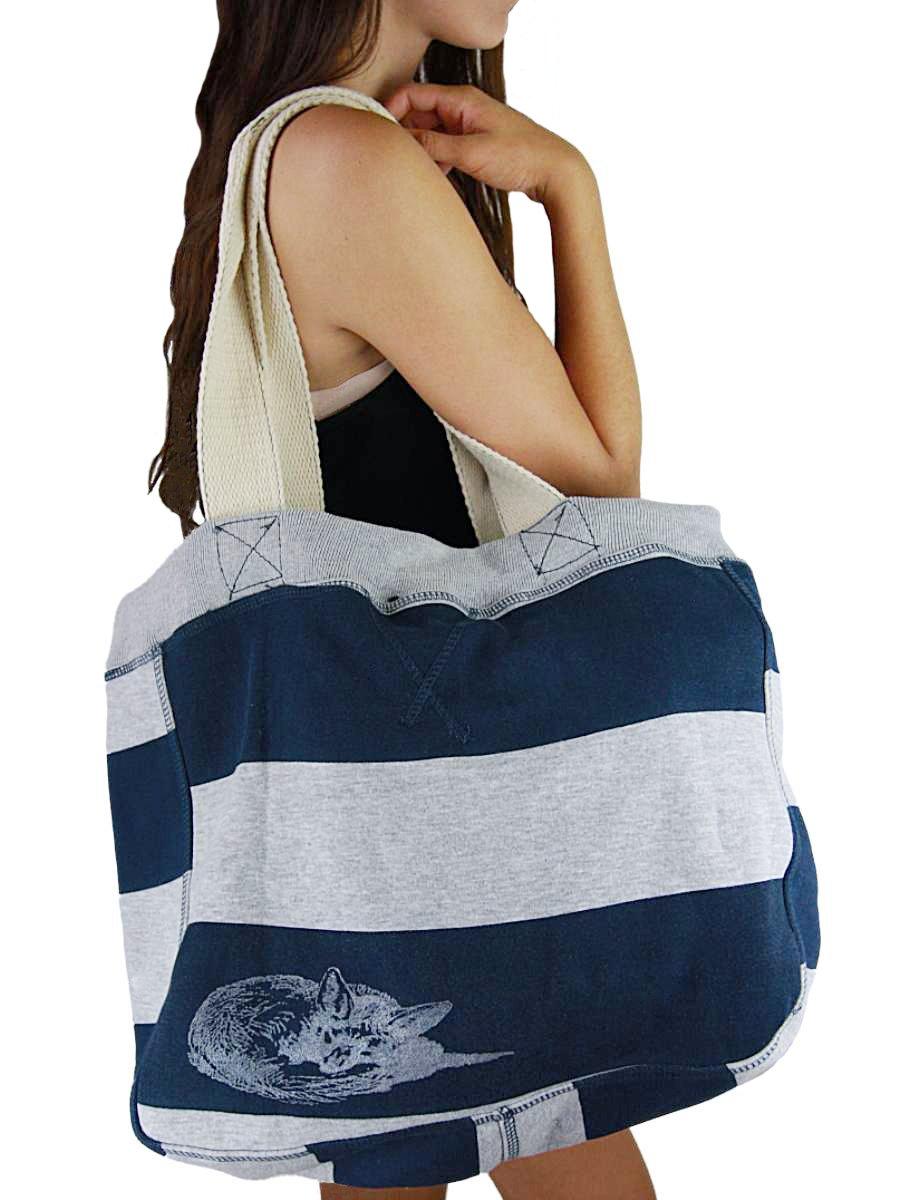YogaColors Emoticon Cabana Stripes Sweatshirt Tote Bag (Navy/Grey Heather Fox)