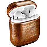 AirPods Case, ICARERCASE Genuine Leather Protective Cover Case for Apple AirPods 1 & 2 Charging Case [Front LED Not Visible] [Support Wireless Charging] - Brown