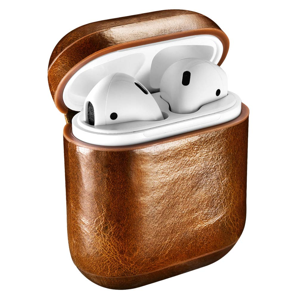 ICARERCASE AirPodsケース 本革保護カバーケース Apple AirPods充電ケース用 Oil Wax Airpods  ブラウン B07MWYYD6M