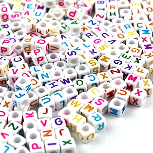 Cube Mini Beads (A Little Lemon Mixed White Acrylic Plastic Beads With Colorful Letters/ Alphabet Letter