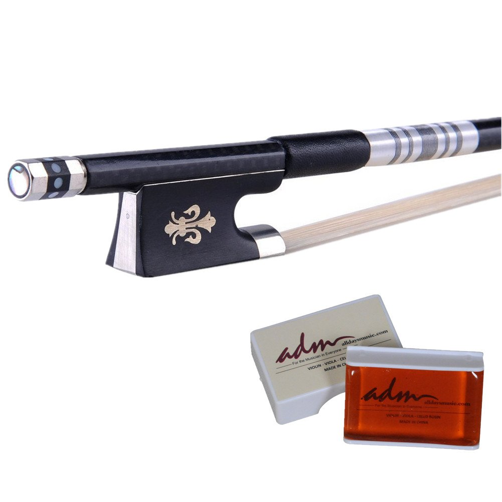 ADM Selected Well Balanced 4/4 Full Size Carbon-fiber Violin Bow for 4/4 Full Size Violin Ebony Frog with Rosin