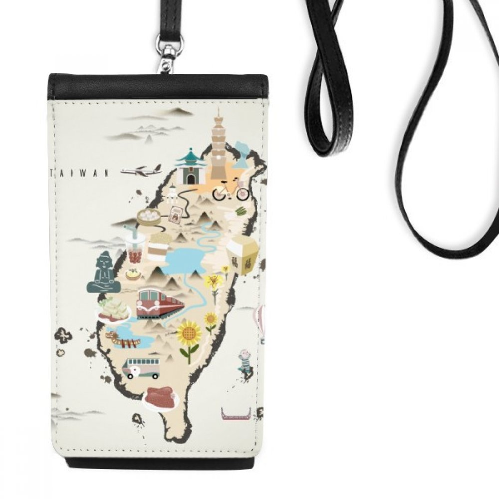 Map Taiwan Travel Features Faux Leather Smartphone Hanging Purse Black Phone Wallet Gift