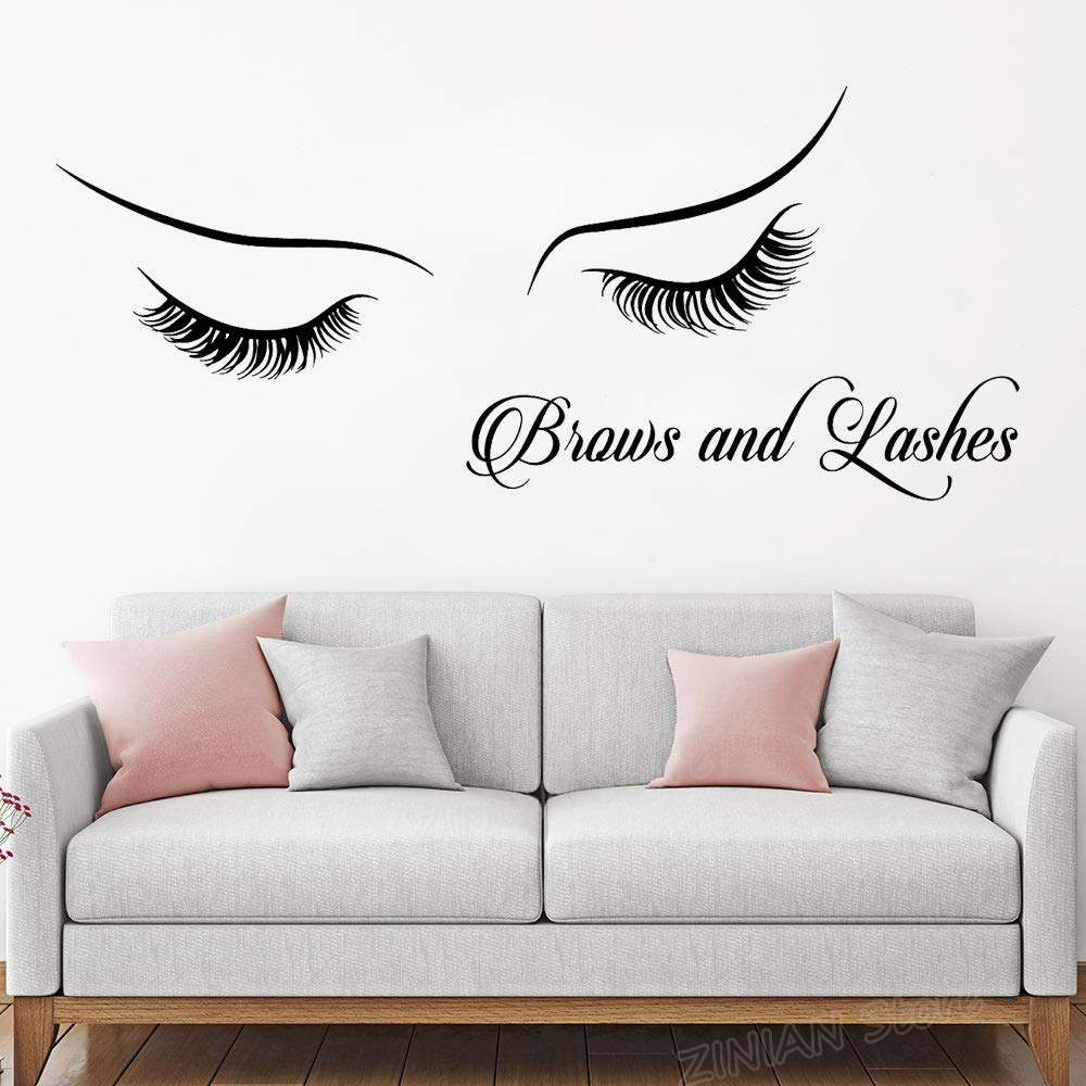 Brows And Lashes Wall Sticker Poster Home Decor Bedroom Beauty Salon Vinyl Decals Eyelash Extension Art Stickers For Girls129x56cm