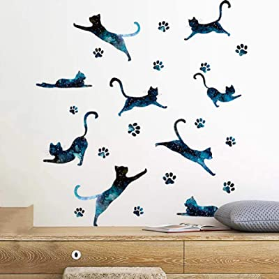 Wall Decals Family Stickers Cute Woodland Zoo Vinyl Mural Art Wallpaper Kids Children Baby Family Love Bedroom Living Room Nursery Room School DIY HomeDecor Removable Peel Stick (Starry Night Cat): Baby