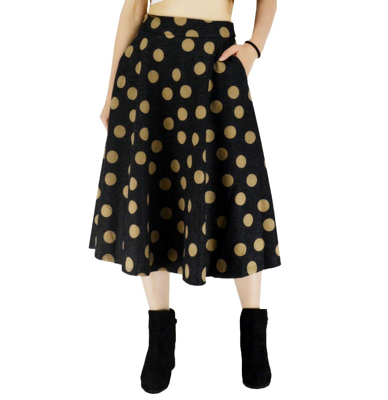 YSJ Women's Wool Blended Midi Skirt A-Line Pleated Vintage Plaid Winter Swing Skirts 5010