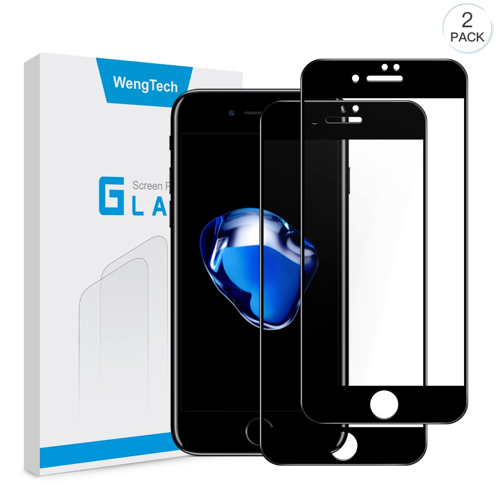 iPhone 8 Plus 7 Plus Screen Protector, WengTech 3D Curved 9H Hardness Bubble Free Anti-Scratch Touch Sensitive Tempered Glass Screen Protector Film for iPhone 8 Plus iPhone 7 Plus 5.5 inch (Black, 2 Pack)