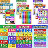 12 Educational Preschool Posters for Toddlers and Kids with 80 Glue Point Dots for Nursery Homeschool Kindergarten Classrooms Teach Numbers Alphabet Colors Days and More, 16 x 11 Inch (English Style)