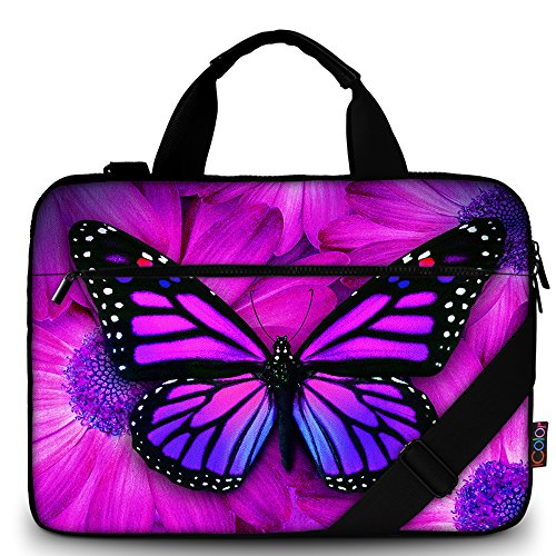 iColor Butterfly Canvas Laptop Carrying Shoulder Sleeve Carrying Case Protective Bag Briefcase for 11.6 12 12.9 13 13.3 Inches Laptop Ultrabook Netbook CSH-02 (Carrying Case Laptop Girl)