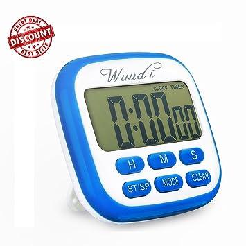 Temporizador digital de cocina, Wuudi 2 en 1 pantalla LCD grande temporizador magnético reloj, temporizador eléctrico para deportes gimnasio cocinar ...