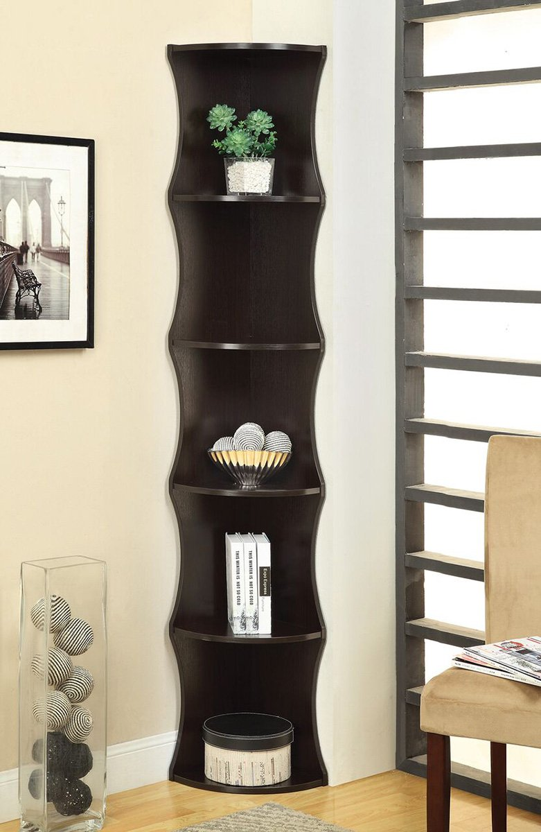 5-Shelf Corner Bookcase Cappuccino