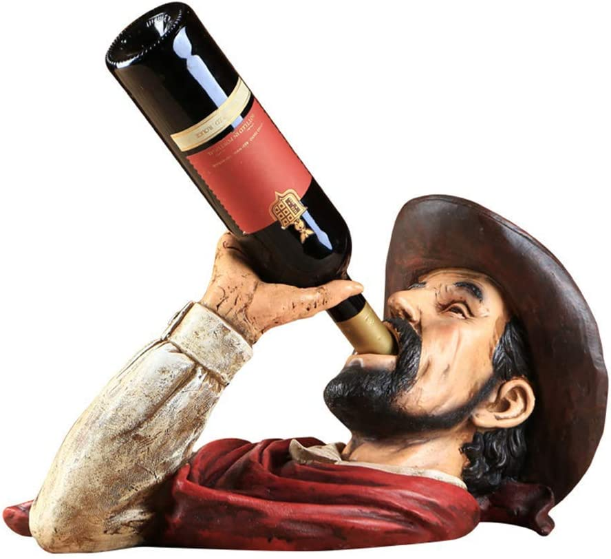 ZGQA-GQA 樹脂ワインラック、最高のボトルラック、ウイスキーワインラック、西部カウボーイ・スタイルギフトデコレーション
