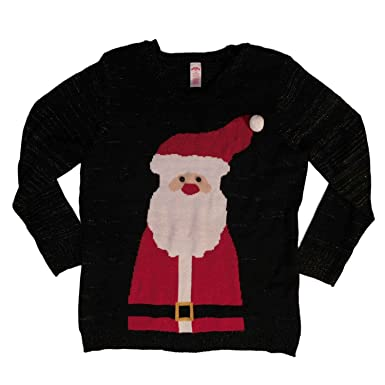 e498521a96f Holiday Time Womens Plus Black Gold Santa Christmas Holiday Sweater  Pullover 2X
