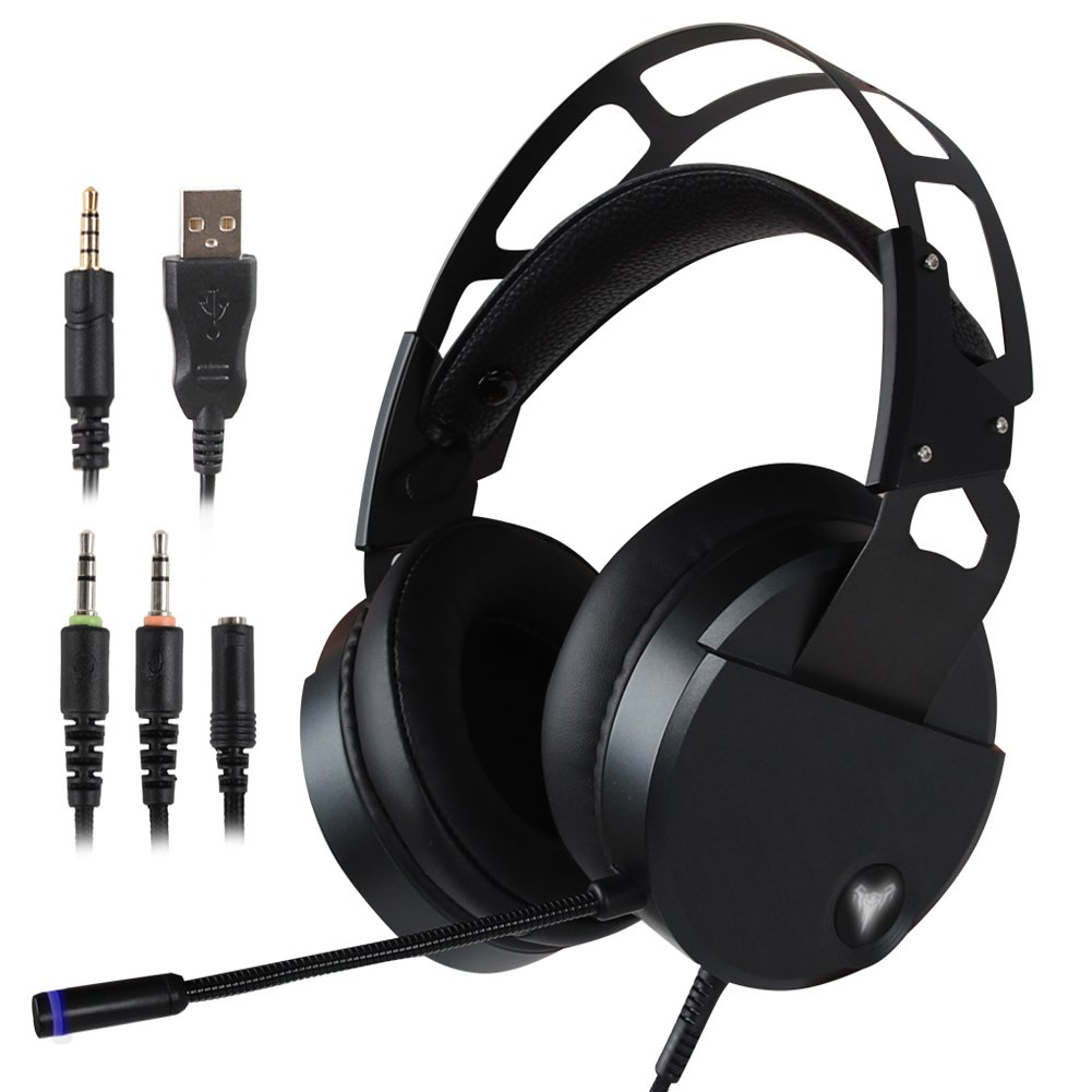 Stereo Gaming Headset for PS4 Xbox One, USB PC Gaming Headphone with Crystal Clear Sound, LED Lights & Noise-canceling Microphone for Laptop, Mac, iPad, Computer, Smartphones (Black)