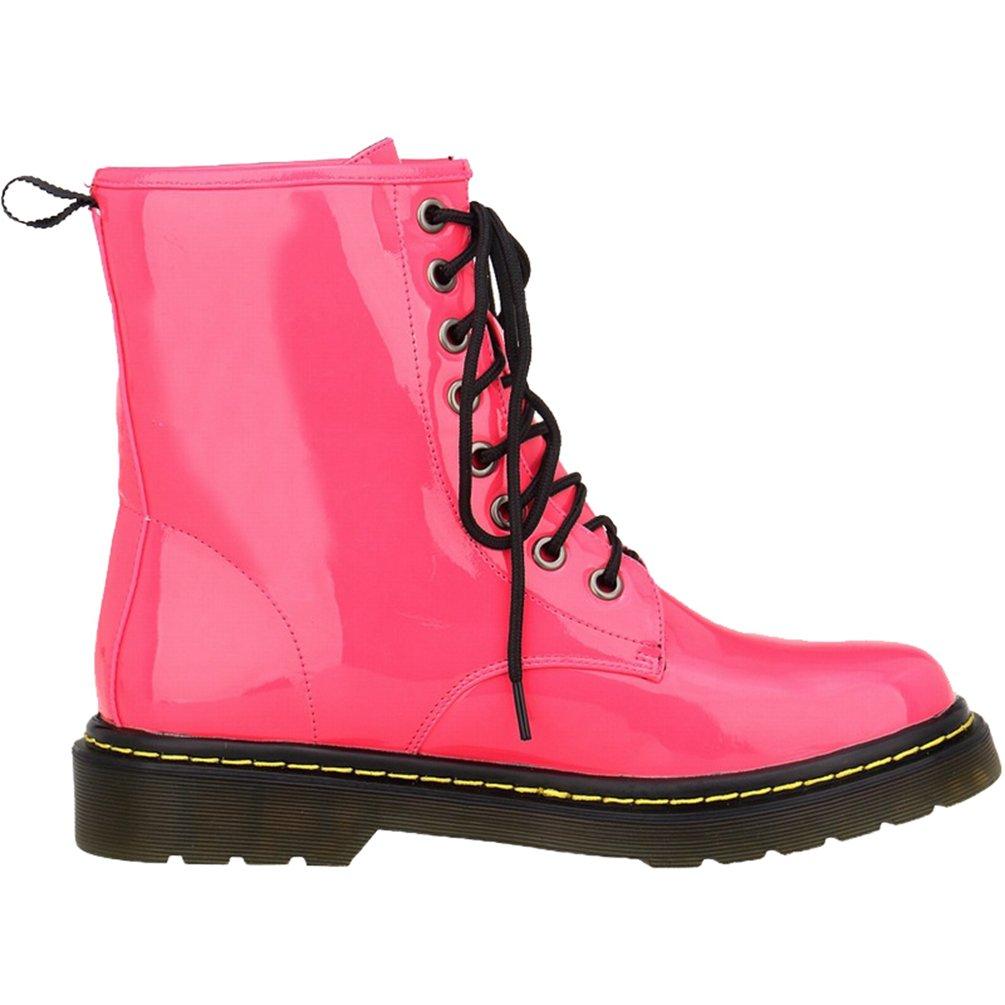 WanYang Bootsschuhe Stiefel Winter Boots fuuml;r Damen PU Leder Kurz Schlupfstiefel37 EU(Fu?l?nge:23.5CM/9.25?|Rose