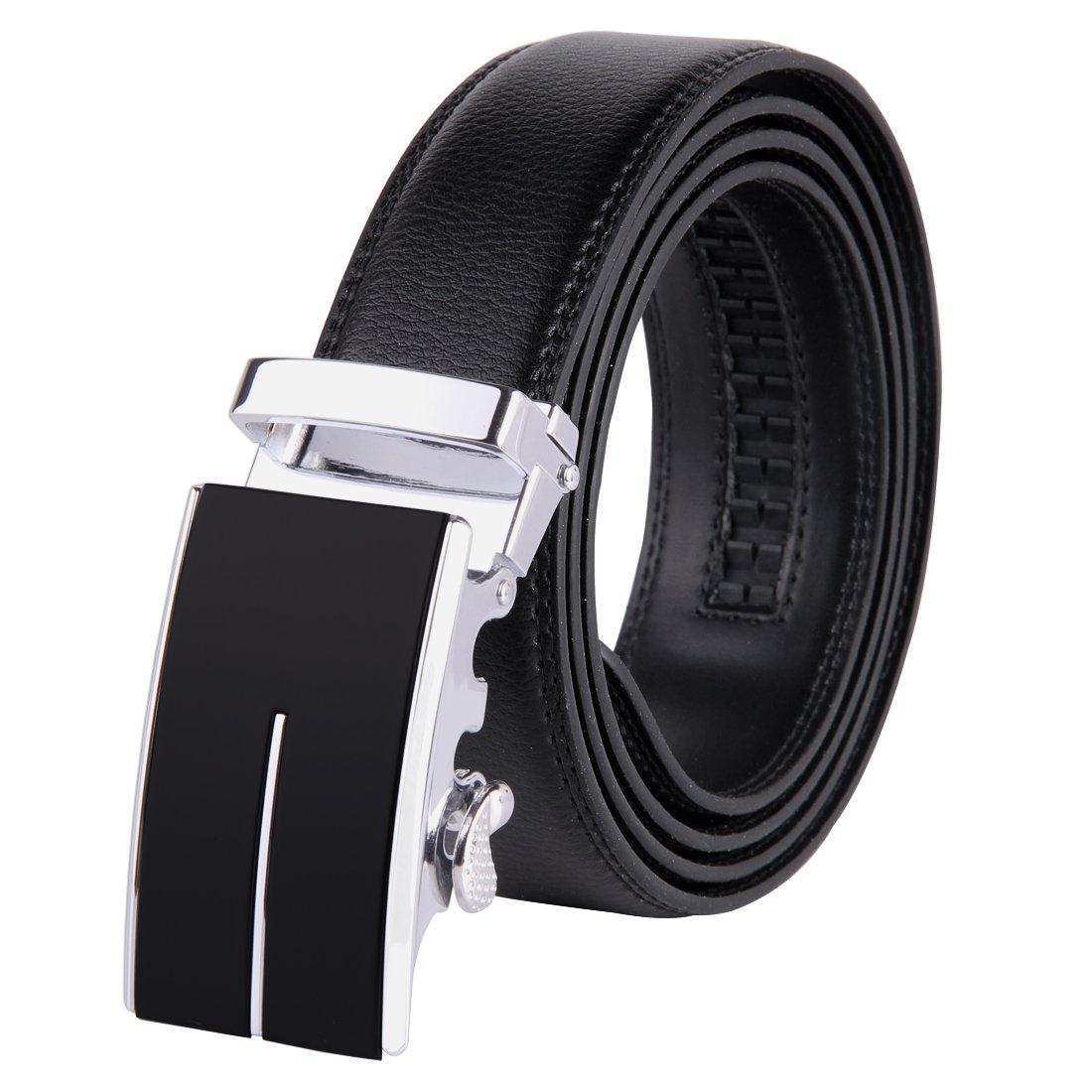 Jiniu Men's Leather Belt Automatic Buckle 35Mm Ratchet Dress Black Belts Boxed 12