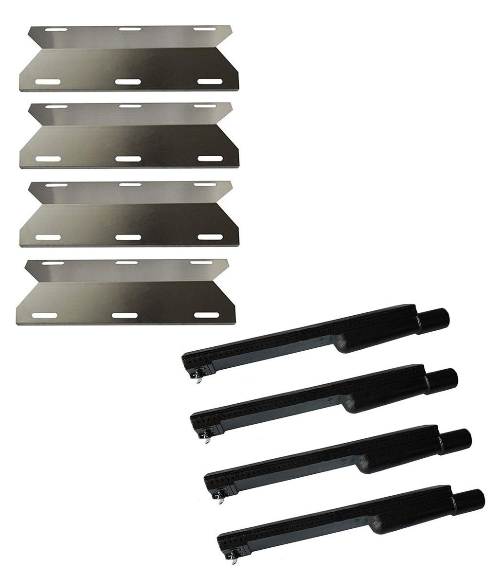 Hongso Jenn Air Gas Grill Repair Kit Replacement Grill Heat Plates and Burners - 4 Pack (CBF301, SPA231)