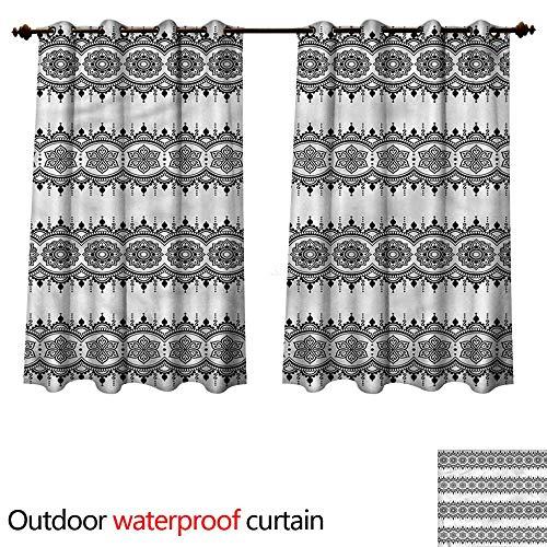 cobeDecor Henna 0utdoor Curtains for Patio Waterproof Monochrome Mandala Tattoo W63 x L63(160cm x 160cm)