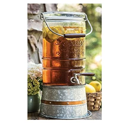 1.5 gallon Galvanized Steel Stand Ice Drink Bucket Glass Beverage Dispenser New