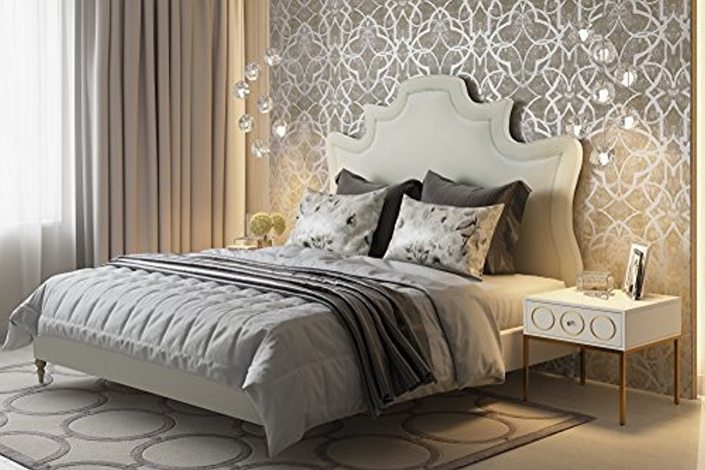 TOV Furniture The Serenity Collection Modern Handcrafted Velvet Fabric Upholstered Solid Kiln Dried Wood King Bed, King Size, Cream by Tov Furniture