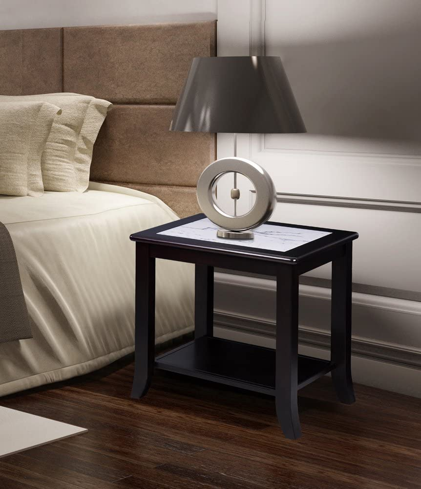 SLEEPLACE SVC22TB03D Marble Top White /& Black Side Table White