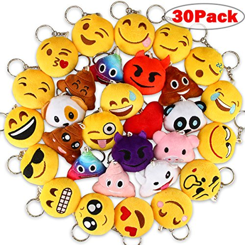 Dreampark Emoji Keychains, Mini Emoji Plush Party Favors for Kids Christmas Birthday Party Supplies, Carnival Prizes for Kids Easter Eggs Fillers 2