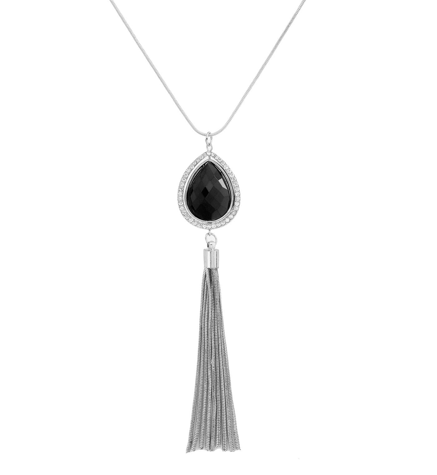 YEYA Long Necklaces for Women Girls Bohemia Tassel Necklace Love Heart Crystal Pendant Necklace Statement Jewelry Necklaces (Silver)