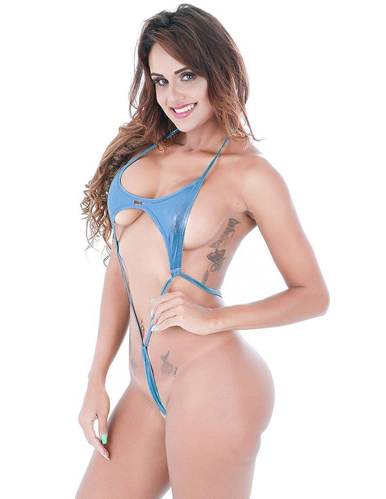 1a3cc811259b4 Amazon.com  Luccy K Metallic Adjustable Tie Side Low Rise Bikini Set Blue   Clothing
