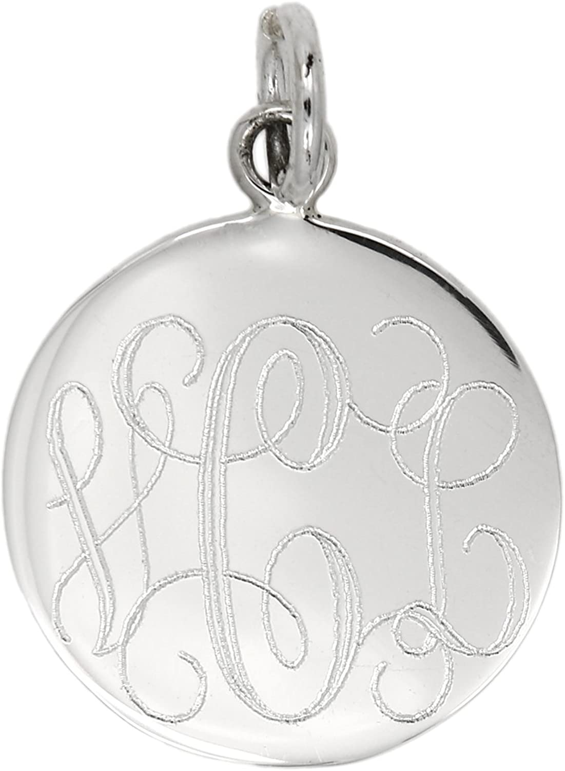 Sterling Silver Gold-Plated Engravable Dog Tag Polished Disc Charm Pendant