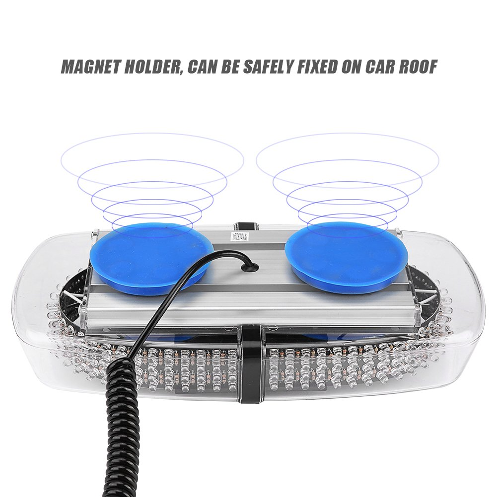 Qiilu 240 LED Bleu Lumi/ère Stroboscopique Toit De Voiture Avertissement Lampe de Poche 7 Modes pour Rescue Police Car