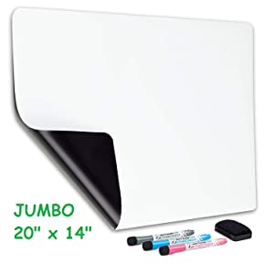 Big flexible magnetic dry erase whiteboard sheet for large and small mini refrigerator. Great for bulletin, to do list, organizer. Always erase clean technology 20x14 inches.
