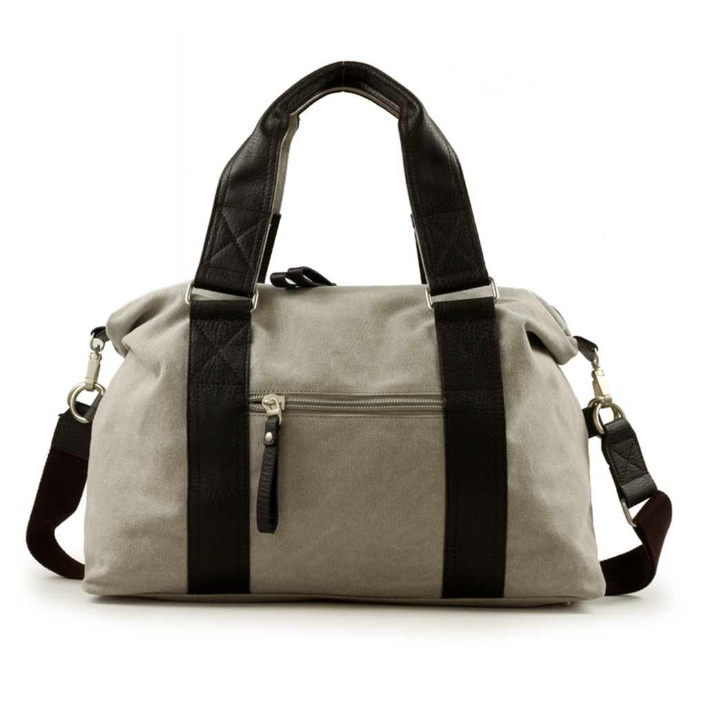 Gumstyle Unisex Vogue Canvas and Leather Traveling Duffel Bag Handbag Shoulder Bag Gray