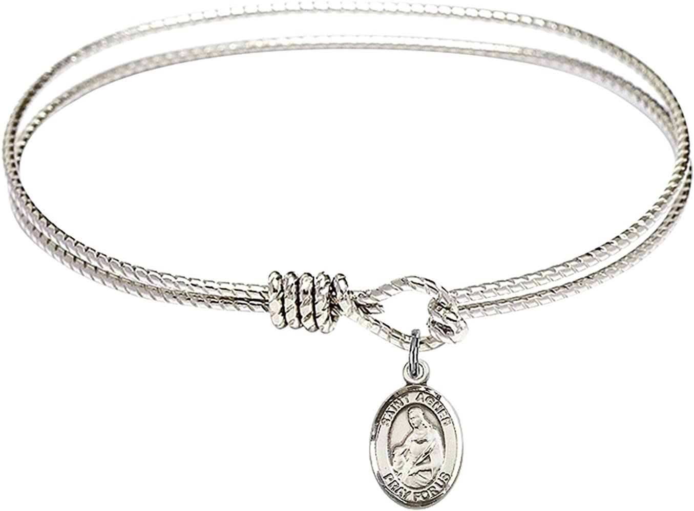 DiamondJewelryNY Eye Hook Bangle Bracelet with a St Valentine of Rome Charm.