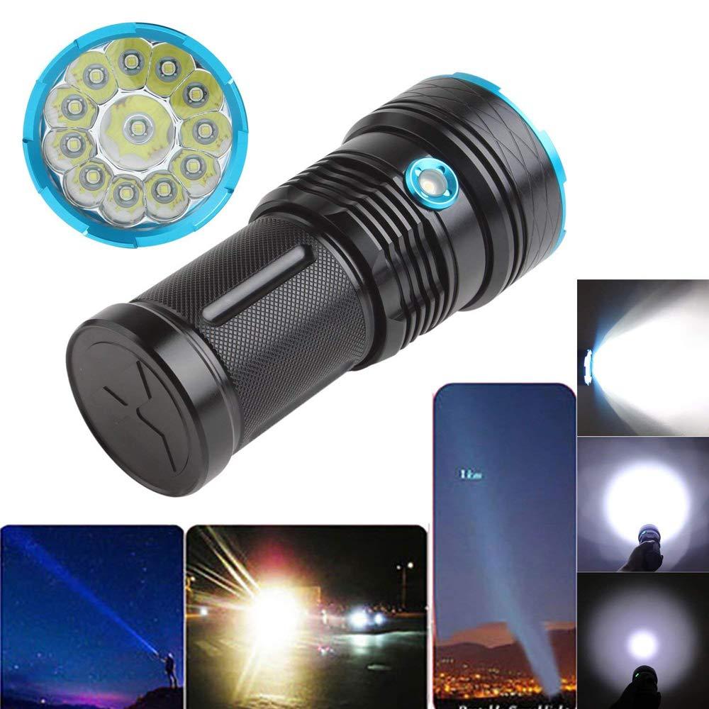 lampe torche led puissante 10000 lumens Tactique Ultra Puissante Militaire Torches Lampe de Poche 12 x XM-L T6 LED de /étanche avec 3 modes pour randonn/ée camping Batterie non incluse