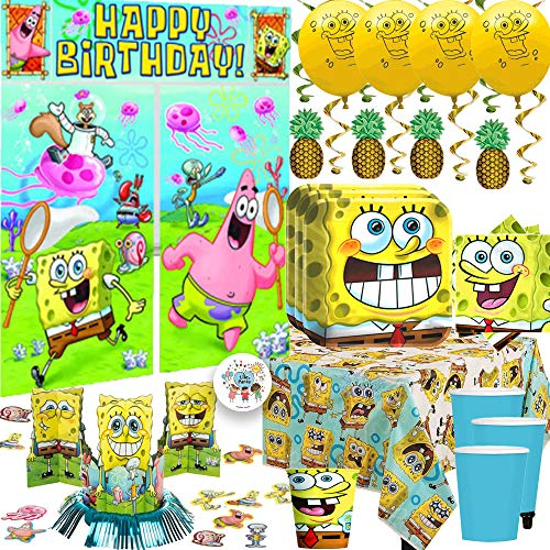 MEGA Spongebob Squarepants Birthday Party Supplies and Decorations Pack For 16 With Plates, Napkins, Cups, Tablecover, Balloons, Table Deco Kit, Scene Setter, Pineapple Swirls, and Pin