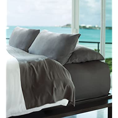 Cariloha Resort Bamboo Sheets 4 Piece Bed Sheet Set - Luxurious Sateen Weave - 100% Viscose from Bamboo Bedding (Graphite, Queen)