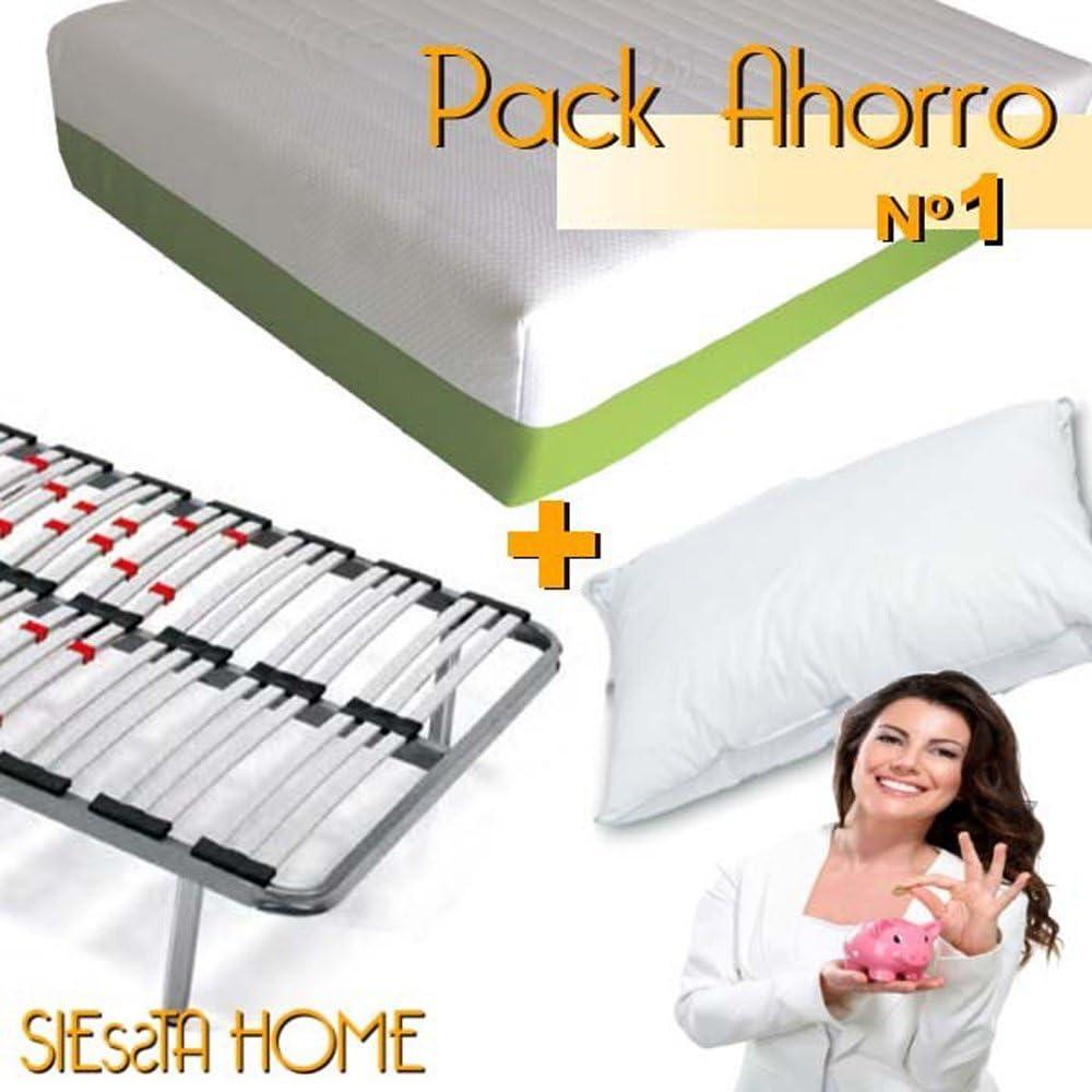 Siessta Home - Pack Oferta Nº1 (Colchón Espuma Ainhoa + somier Luis+ Almohada Silver) (135 x 180 cms): Amazon.es: Hogar