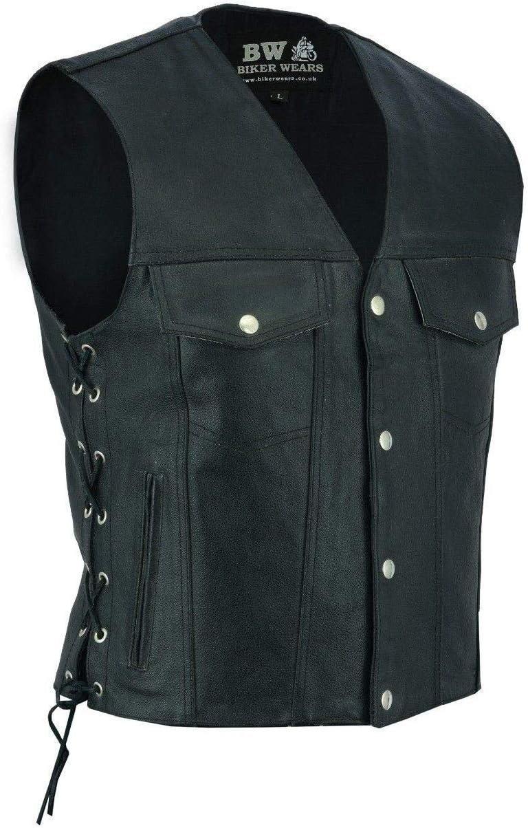 Mens Motorbike Motorcycle Real Leather Button Side Laced Fish Hook Pocket Waistcoat Vest Biker Fashion /… BLACK 4 POCKET, XL