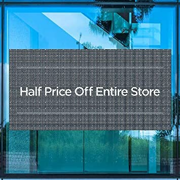 96x48 5-Pack CGSignLab Half Price Off Entire Store Basic Navy Perforated Window Decal
