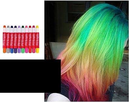 D-SYANA8 Tiza de Pelo, 10 Colores Temporal Tinte para Cabello ...