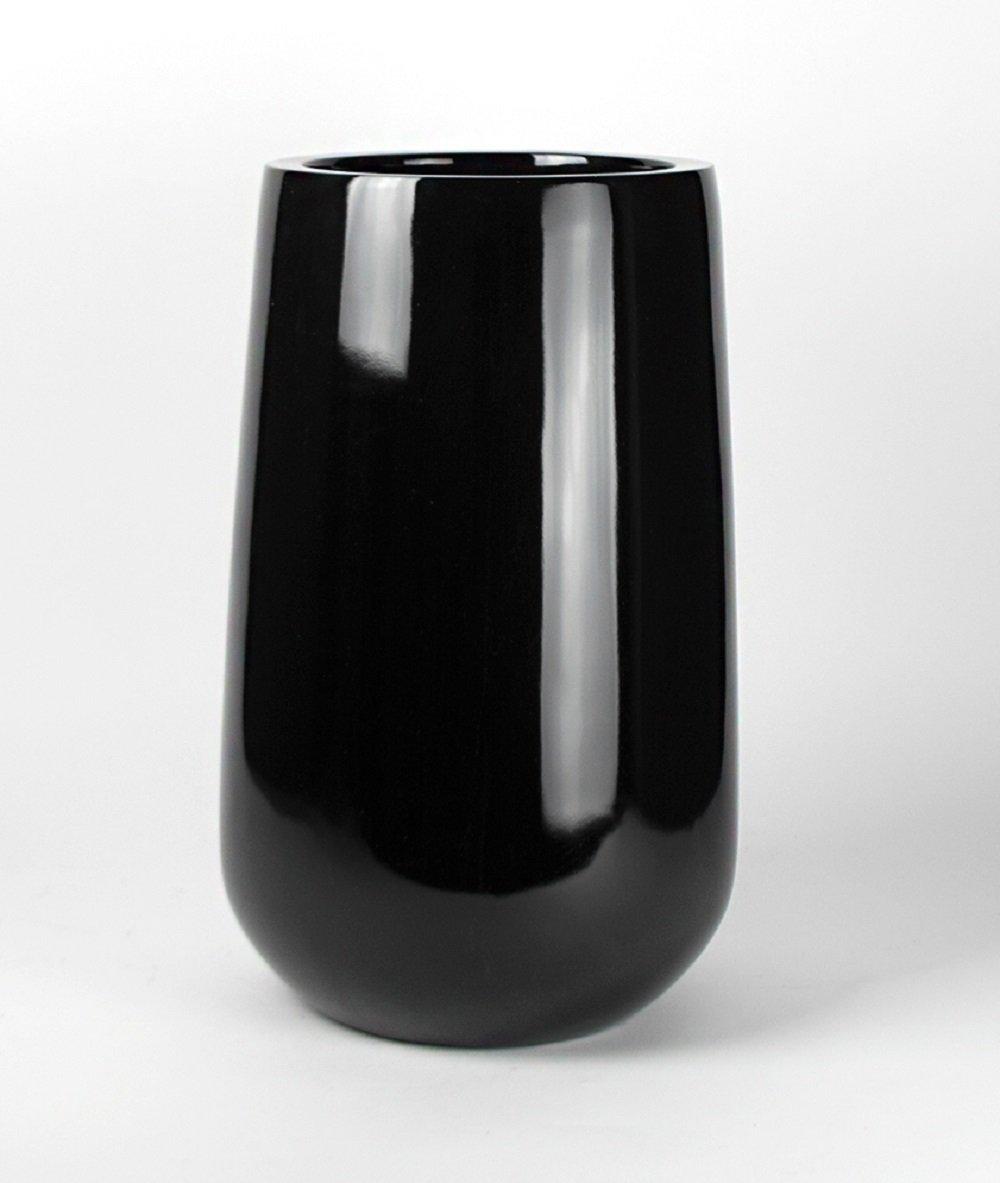 Shiny Black Round Planter Vase - Tall Round Bottom Fiberglass Flower Pot 20'' High x 10.5'' Diameter - by VaseSource