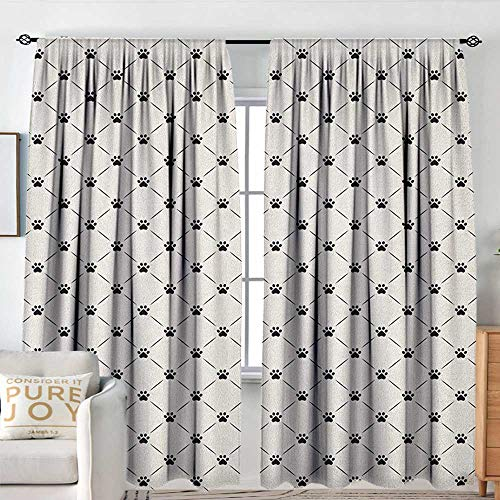 Blackout Curtains Cat,Classical Checkered Pattern with Cat Kitty Dog Paws Footprints Geometrical Cute Design, Cream Black,Rod Pocket Curtain Panels for Bedroom & Kitchen 60