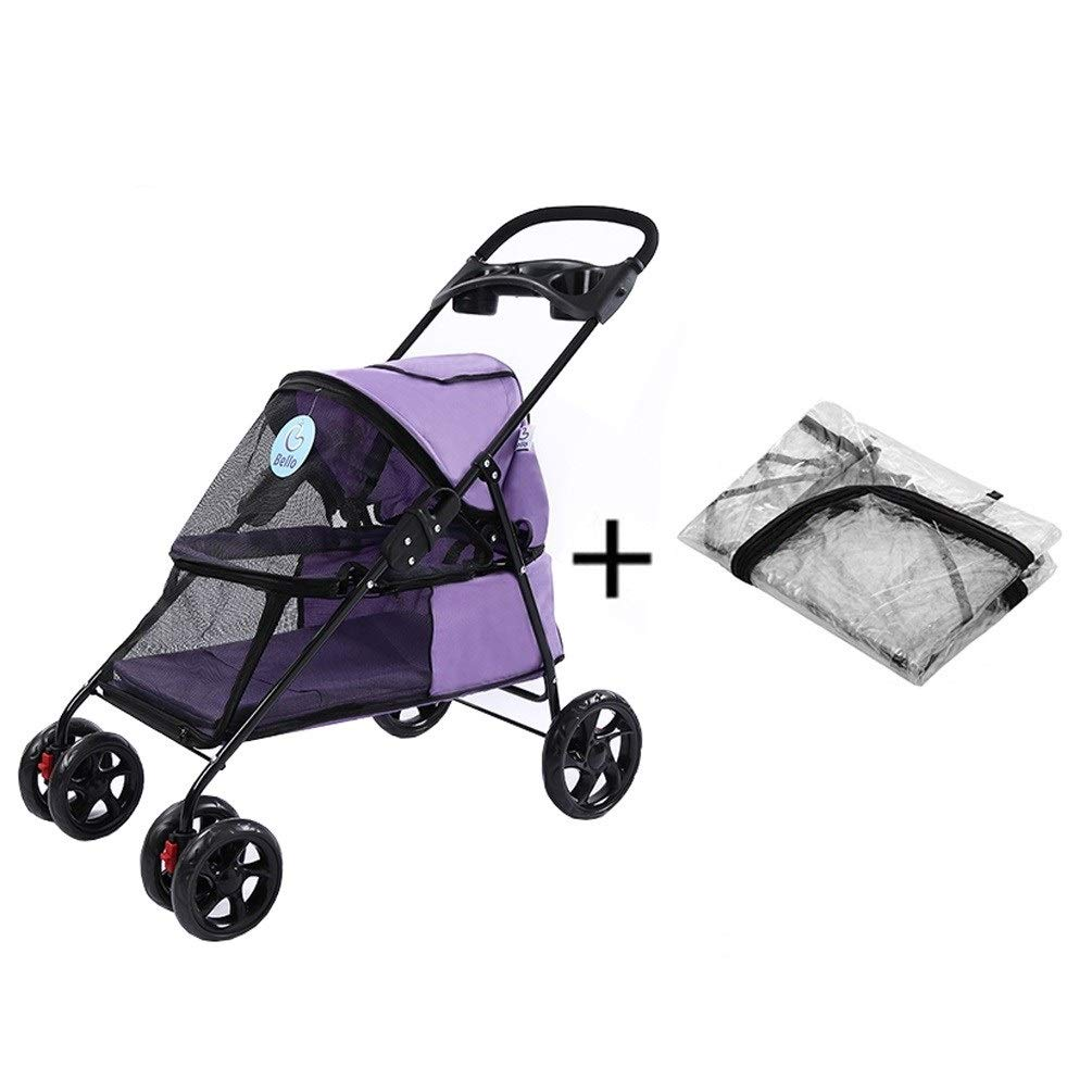 4 Dog Pushchair, With Rain Cover Stroller Pram Carrier Pet Cat Trolley 4 Wheels Foldable Outdoor Travel Puppy Jogger For Trip (color   5)