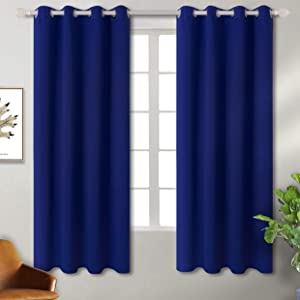 BGment Blackout Curtains - Grommet Thermal Insulated Room Darkening Bedroom and Living Room Curtain, Set of 2 Panels (52 x 63 Inch, Royal)