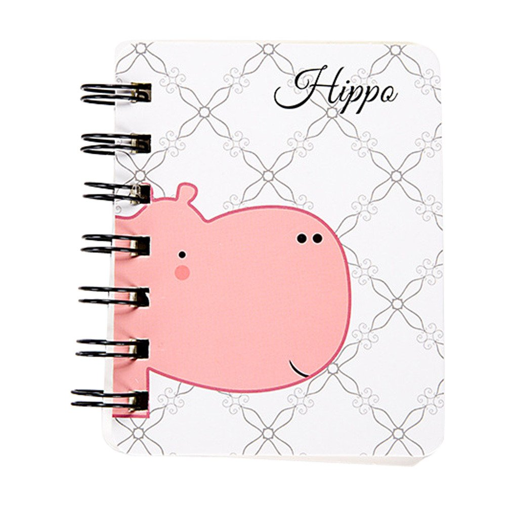 Mini Spiral Notebook Paper Blank Page Notebook Cute Animal Journal Diary Notepad Small Pocket Notebook for Children Women (F)