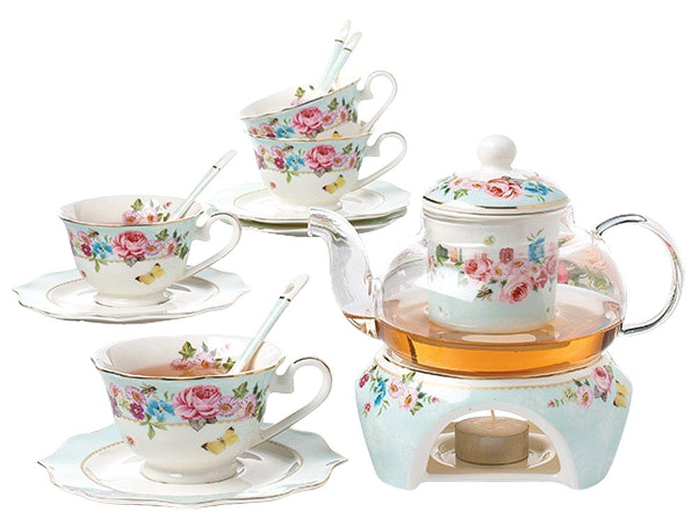 Jusalpha Fine Bone China Flower Series Teacup Saucer Spoon Set with Teapot Warmer & Filter, 16 pcs in 1 set (FL-Glass pot set 03)