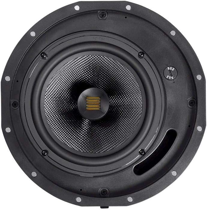 6.5 Inch with Magnetic Grille and Ribbon Tweeter Monoprice Amber 2-Way Carbon Fiber Ceiling Speakers Pair