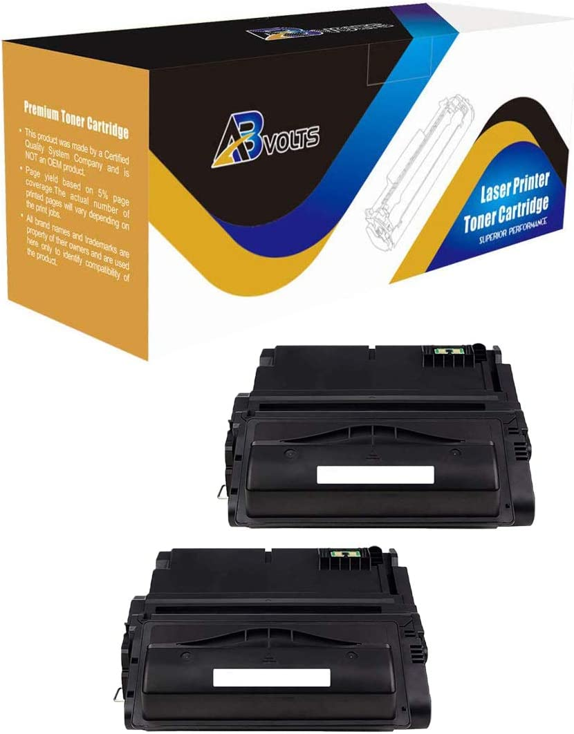 Black,2-Pack AB Volts Compatible MICR Toner Cartridge Replacement for HP Q1338A for Laserjet 4200 4200DTN 4200DTNS 4200DTNSL 4200N 4200TN